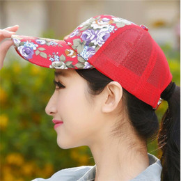 Wholesale Wholesale Sports Snapback Hats - 2017 New Floral Hat Baseball Cap Mesh Caps Sports And Leisure Visor Sun Hats Snapback Cap 6 Colors Available