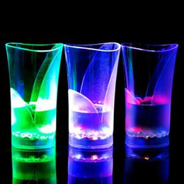 Wholesale Led Bar Glasses - Colorful Flashing Bar Cup LED Luminous Mysteries Beer Cup High Brightness LED Colorful Drinking Glasses Light Cups Charged