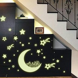 Wholesale Fluorescent Vinyl - Y0016 New arrival Creative Star of the World Moon luminous fluorescent PVC Wall Stickers Home Decor Mural Decal Free Shipping