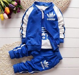Wholesale Girls Fashion Coat Suit - Kids Clothes Boy 3pc set Boys Girls 2016 Baby Boys Autumn Coats And Jackets Pants Set Fashion Children Clothing Sports Suit