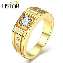 Wholesale Men Yellow Gold Wedding Ring - Yellow gold plated MEN Rings Jewelry stainless steel zirconia crystals finger wedding rings male anel bijoux gifts top quality