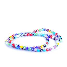Wholesale Evil Eye Glass Beads Bracelet - 97pcs string 4mm colors mixed round shape evil eye beads lampwork glazed glass beads for bracelet necklace DIY jewelry making