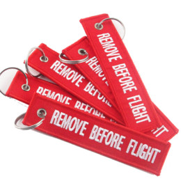 Wholesale Key Ring Pieces - 3 Piece Lot Red REMOVE BEFORE FLIGHT Embroidered Specil Luggage Tag Label Key Chain Ring Aviation For Gifts Key Chain