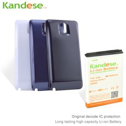 Wholesale Note 1pcs - 1pcs lot Brand KANDESE 8600mAh Note 3 Business Extend Battery For Samsung Galaxy Note3 N9000 N9005 + Back black White Cover Door