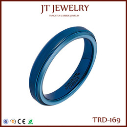 Wholesale Tungsten Wedding Rings For Women - Special Offer Blue Rings for Women Tungsten Carbide 4mm Blue Plated Step Edge Mirror polish Centre Brushed Surface Bands size 7#-13#
