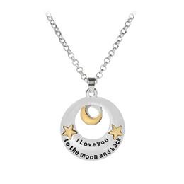 713920f58478 Te amo a la luna y la espalda Collar Gold Star Moon Charm Pendants moda  amantes regalo de la joyería DROP SHIP 162346