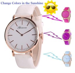 Wholesale Color Change Glass - New fashion women geneva thermochromic Temperature Change Color Watch leather watch simple ladies casual wrist quartz watches