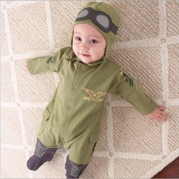 Wholesale Leopard Bodysuit Costume - Army Green Baby Rompers Pilot Airman Costumes Baby Boy Clothes Hat Space Jumpsuit + Cap Fly Aviator's Helmet Without Foot Cotton Bodysuit
