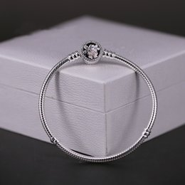 Wholesale European Beads Bracelet Clasp - Authenetic 925 Sterling Silver Bangle Poetic Blooms Clasp Snake Chain Bracelet Bangle Fit Women Pandora Bead Charm DIY Jewelry