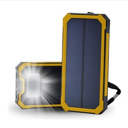 Wholesale Solar Bank Power Charger Iphone - Waterproof Solar Poverbank Phone For Xiaomi Iphone Power Bank 12000mAh 20000mAh Charger Battery Portable Mobile Pover Bank with LED Light