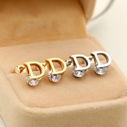 Wholesale Earrings Fashion D - Wholesale Cute D letter Earrings for Women fashion stainless steel Stud Earrings for Girl Party Gift