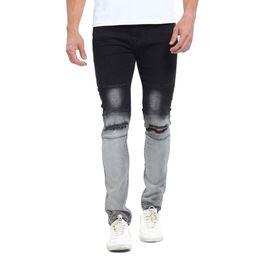 Wholesale urban hip hop jeans - Wholesale-2017 Gradient Color New Men Biker Jeans Fashion Casual Skinny Slim Ripped Hip Hop Urban Stretch Elastic Jeans T0278