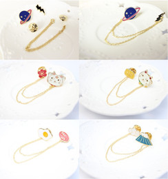 Wholesale Ladies Shirt China - cartoon badge pins alloy boutonniere stick with chain, detachable brooch pins sets, for lady, girls, kid's shirt, bags and hat, price cheap
