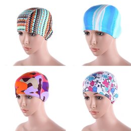 Wholesale Swimming Caps Spandex - Wholesale- Style Women\'s Floral Waterproof Spandex Stretch Swimming Cap Bathing Hat U31 Drop Shipping
