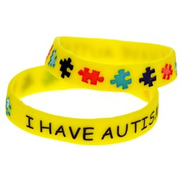 Atacado 100 Pçs / lote Tinta de Cor Cheia de Jigsaw Puzzle Logotipo Pulseira para Crianças Eu tenho o Autismo Pulseira De Silicone de