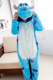 Wholesale Sullivan Costume - Wholesale- monster Sulley Sullivan adult onesies Pyjamas Cartoon animal costume Pajamas Unisex pijamas ,sleepwear ,party clothes