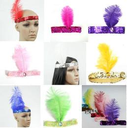Canada 10 couleurs plumes cheveux accessoires bande de cheveux nouveau bandeau bandeau femmes clapet plume bandeau vintage Gatsby partie hairban 20pcs Offre