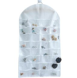 Wholesale Earrings Jewellery Box - Hot 32 Pockets Jewelry Hanging Organizer Earrings Necklace Jewelry Display Holder Dual Sided Jewellery Storage Bag Display Pouch