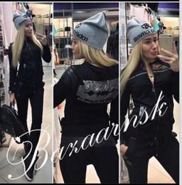 Wholesale Black Rhinestone Pants - 2017 cotton stitching leather blade hot drilling pattern fashion good quality suit