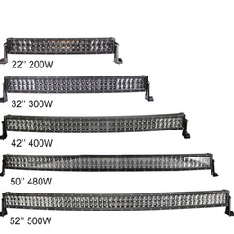 Wholesale Boat Led Light 12 - 22'' 32'' 42'' 50'' 52'' Dual row Curved LED Work Light Bar Combo 4D LED Offroad Car ATV 4WD Bus 4X4 Boat Driving Headlight Bar