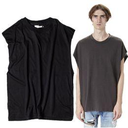Wholesale Rock Tank Tops For Men - Wholesale- 2016 Mens Hi-street Sleeveless Tank Top T Shirt Men Retro Rock Style T-shirt 100% Cotton Solid Loose Tshirt Streetwear For Men