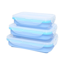 Wholesale Rectangle Silicone Lunch Boxes Portable Lunchbox Foldable Crisper Seal Bento Box Silica Gel Container Colorful Case New Arrival xf3 R