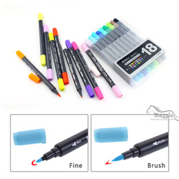 Wholesale Sketch Painting - Art and Graphic Drawing Manga Water Based Ink Twin Tip Brushand Fine Tip Sketch Marker Pen 12 18 24 Colors  SET Brush Pen