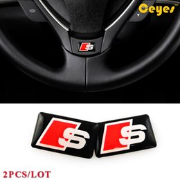 Wholesale Car Accessories Logos - Auto Car Fashion Personalized Sticker for Audi S s7 s6 Car Plastic Drop Epoxy car logo sticker styling accessories 2pcs lot