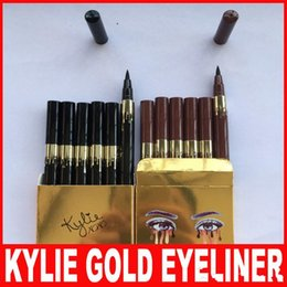 Wholesale Gold Eye Pencil - Gold Kylie Jenner Birthday Edition Waterproof Long Lasting Eye Eyeliner Pen Pencil Brown Black Makeup Cosmetic