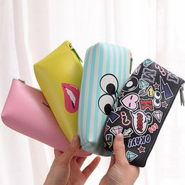 Wholesale Case Lips Leather - Wholesale- New Kawaii Candy color Lip Dot pen bag stationery pouch school office supply Cute Modern girl PU leather pencil case for girl