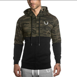 Wholesale Black Winter Cardigans - Winter 2016 Muscles Brothers RSRV Camouflage Color Hoodies Gymshark Aesthetics Bodybuilding Fitness Leisure Hoodies running pants