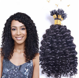 Wholesale 14 Micro Loop Extensions - 7a Brazilian Human 14-26'' Micro Loop Hair Eextensions 1g s 100s 100g deep curl Extensions 1b# natural black color Loop Hair Extensions