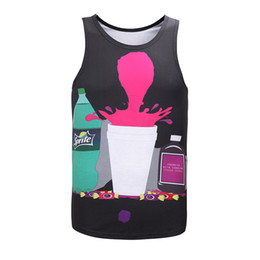 Wholesale Boys Size Tank Tops - 3D print sprite big bottle beverage boys summer vests womens vest wholesale cheap waistcoat loose tank tops big size casual unisex vests