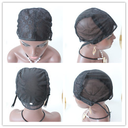 Wholesale S Wigs - 5pcs Top Quality S M L Size Wholesale Jewish Glueless Wig Caps human hair Wig Cap For Making Wigs Adjustable Straps Back