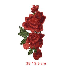 Wholesale Paisley Bedding - 10Pc lot Resplendent Flower Red Rose Blossom Applique Embroidery Patch Sew-on Fabric Sticker DIY Cloth Decoration