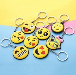 Wholesale Couples Ring Mixed Order - Single face cute expression soft plastic car keychain creative couple models key ring small pendant key ring R239 Arts and Crafts mix order