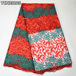 Wholesale Red tulle lace fabric for wedding african net lace new embroidery lace fabric TCN232