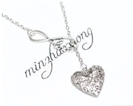 Wholesale Alloy Pendant Infinity - Hot Heart Love Infinity Essential Oil Diffuser Charms Pendant Aromatherapy Chain Necklace 10PCS
