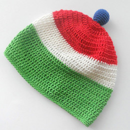 Wholesale Winter Hat Italy - Green White Red Striped Hat,Handmade Knit Crochet Baby Boy Girl Italy Flag Beanie,Kids Winter Hat,Infant Toddler Photo Prop,Shower Gifts