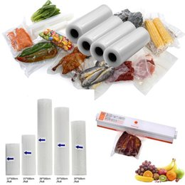 Wholesale Rolls Bags - 12+15+20+25+28cm*500cm 5 Rolls Vacuum Bag Food Fresh Keeping Bag Vacuum Sealer Bag Food Storage Bags Kitchen Food Packing Pouch Saran Wrap