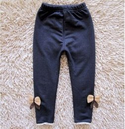 Wholesale Girl Jeans Leggings - Winter Warm Girls Leggings Fashion bow Kids Girls Jeans Pants Autumn Kids Children Pencil Pants Trousers