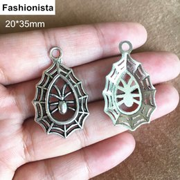 Wholesale Cobweb Earrings - 50 pcs lot Antique Silver Spider on its Cobweb Charms Pendant 20*35mm,Fit Earrings Necklace Making,Jewel Findings