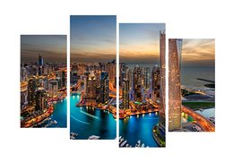 Wholesale Bright Wall Art - 4pcs set Unframed Dubai Bright Lights Print On Canvas Wall Art Picture For Home and Living Room Decor