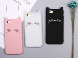 Wholesale Cat Ears Iphone Cases - New Cute Cartoon 3D Black beard Cat Ears Animal Capa Soft Silicone Phone Cases Cover For iPone 7 7Plus 6 6S 6Plus Fundas