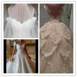 Wholesale Wedding Card Pictures - The new sexy V card shoulder drain back Eugen white gauze trailing sequins lace flower wedding dress skirt multi bag mail