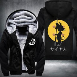 Wholesale Super Fleece Hoodie - Wholesale- 2016 Dragon Ball Animate Hoodie mens Thicken Fleece Zipper Jacket Super Saiyan Goku DBZ fast ship 5-10 days arrive