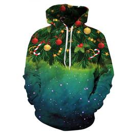 Wholesale Christmas Tree Sweatshirt - Mens Womens Sweatshirt Christmas Tree Candy Ball Decor Pattern 3D Print Hoodie Pullover Xmas Fall Winter Hoody Tops