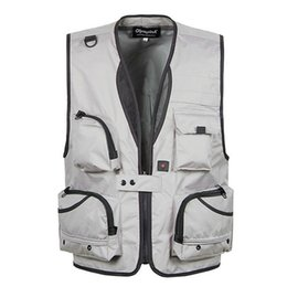 Wholesale Photography Works - Wholesale- XL-5XL Men's Photography Work Vest V-Neck Multi-Pocket Reporters Director Sleeveless Jacket Outerwear A364