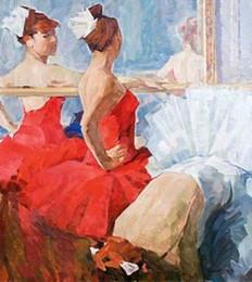 Pintura a óleo menina dançando on-line-Balé emoldurado meninas dançando na sala de dança, pintado à mão retrato feminino Art Oil Painting na lona grossa, tamanhos disponíveis Multi Ab114