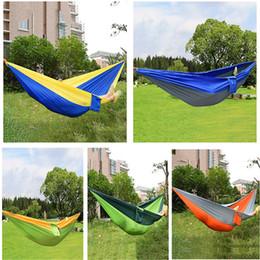 Wholesale Hammock Swing Nylon - Wholesale-Portable Nylon Parachute Double Hammock Garden Outdoor Camping Travel Furniture Survival Hammock Swing Sleeping Bed Tools 2016